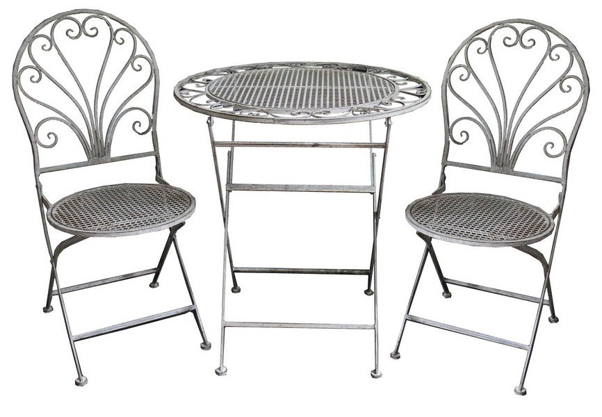CAFE SETTING - ANTIQUE GREY FINISH (ROUND CHAIR)