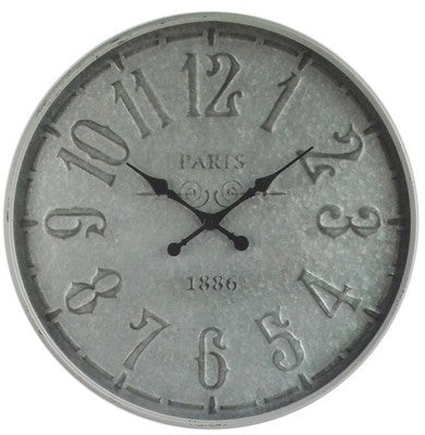 OLD TOWN METAL WALL CLOCK - TAIWAN MOVEMENT - ANTIQUE METAL