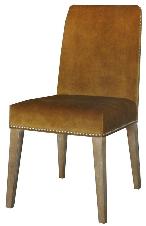 PASCAL DINING CHAIR MUSTARD VELVET W/ ANTIQUE STUDS