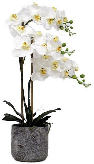REAL TOUCH ORCHID 3 SPRAY WHITE WITH STONE POT