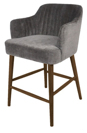 SUMMERVILLE GREY BARSTOOL - GREY CHENILLE/OAK LEG