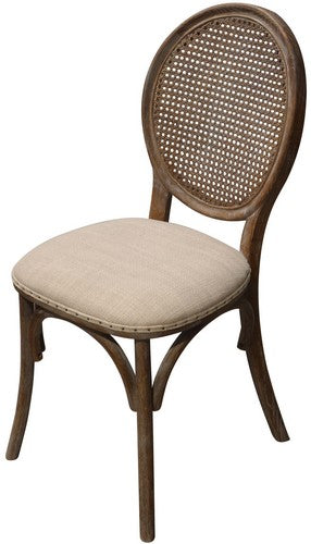 HERITAGE DINING CHAIR - BURNT OAK W / NATURAL LINEN SEAT