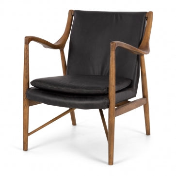 Finn Armchair Black Leather, Due again January