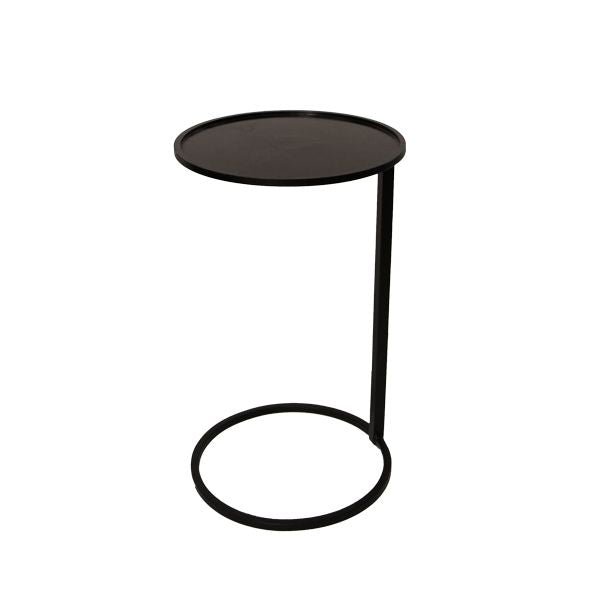 SMALL BLACK CIRCLE COUCH SIDE TABLE