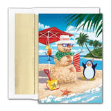 Sand Snowman & Penguin Christmas Cards