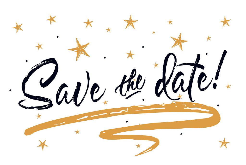 Gold Stars Save The Date Postcards - 4in. X 6in. - Sophie's Favors and Gifts