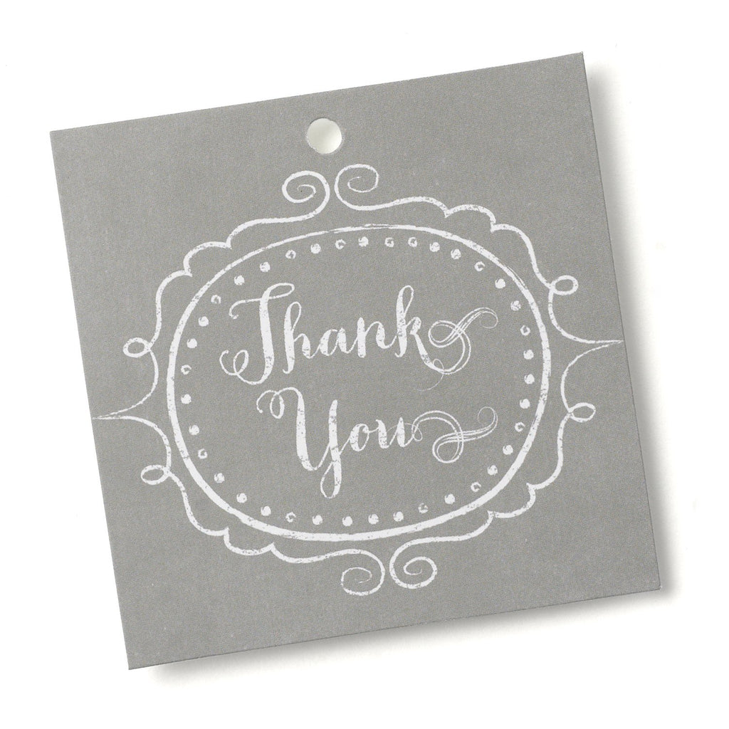 Gray Vintage Thank You Favor Tags - 3in. x 3in. - 25 Pack - Sophie's Favors and Gifts