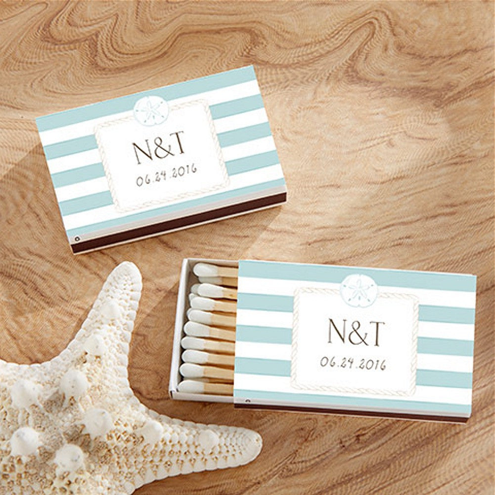 Beach Themed Personalized White and Blue Matchboxes - Sophie's Favors and Gifts