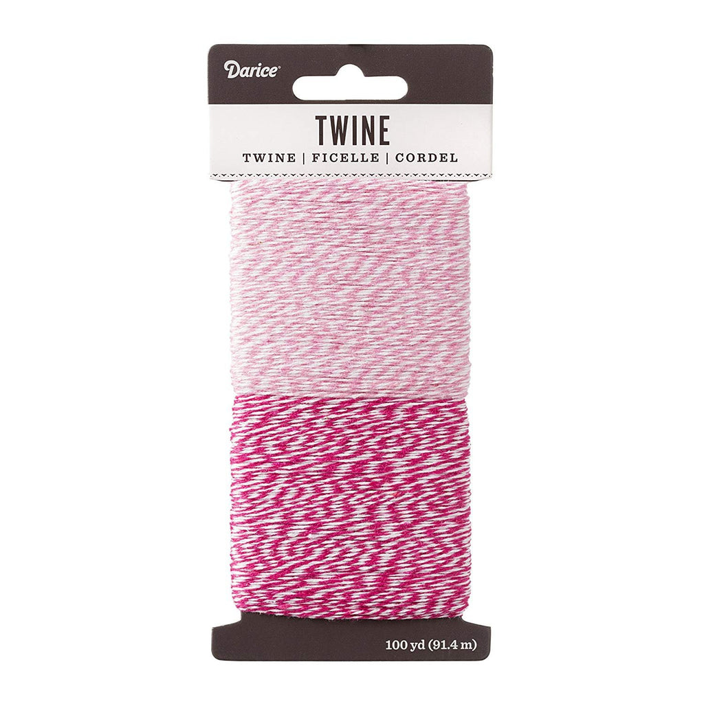 Two-Tone Baker's Twine Combo - Pink & Light Pink Colors - 50 Yards of Each Color (Total of 100 Yards) - Sophie's Favors and Gifts