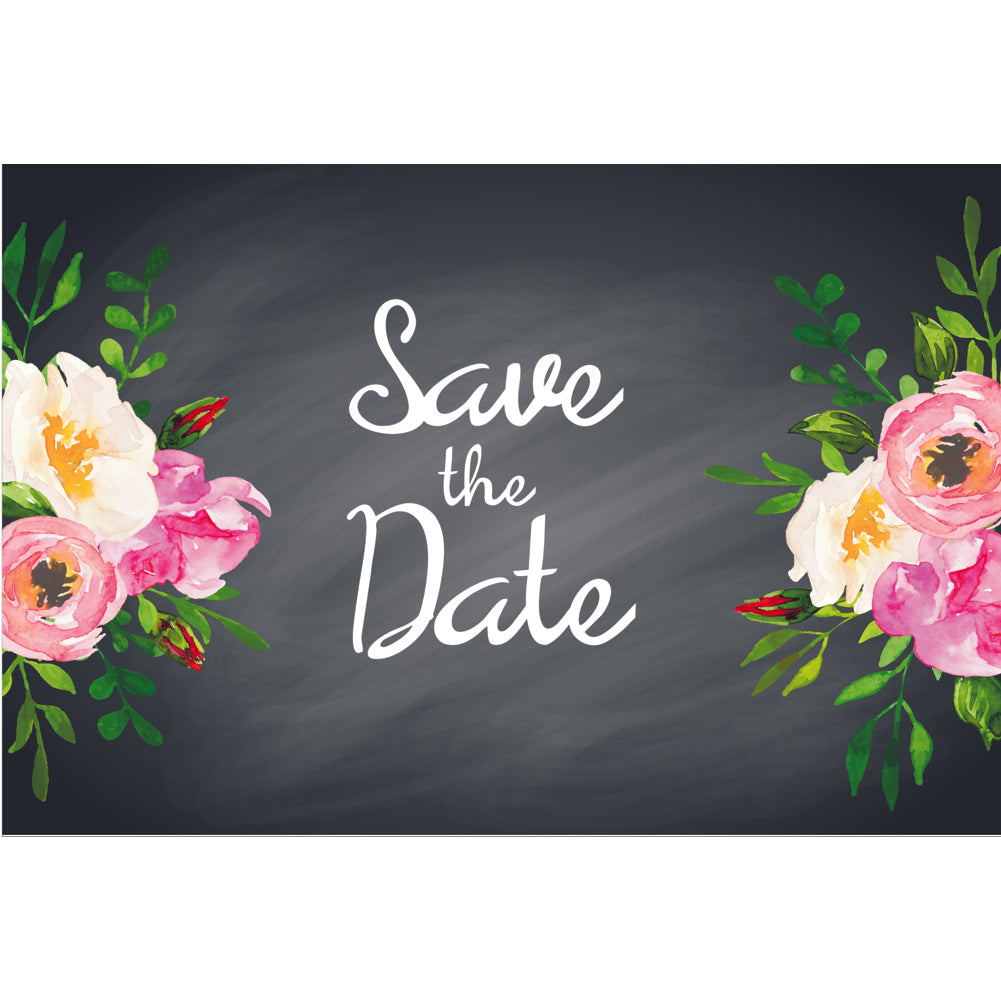Chalkboard Floral Save The Date Postcards - 4in. X 6in. - Sophie's Favors and Gifts