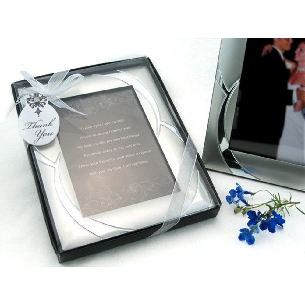 Double Ring Romance Brushed Photo Frame Favor - Sophie's Favors and Gifts