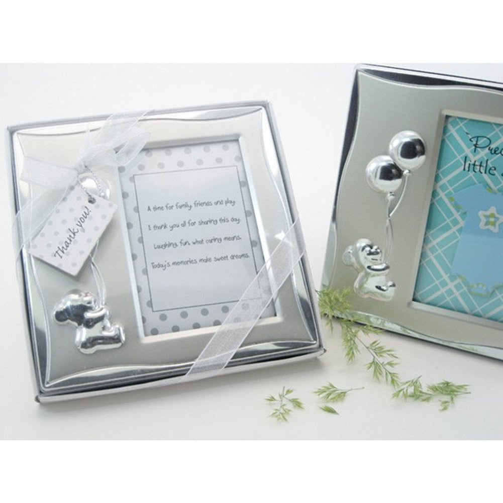 Bear's Best Wishes Brushed Photo Frame in Gift Box - Sophie's Favors and Gifts