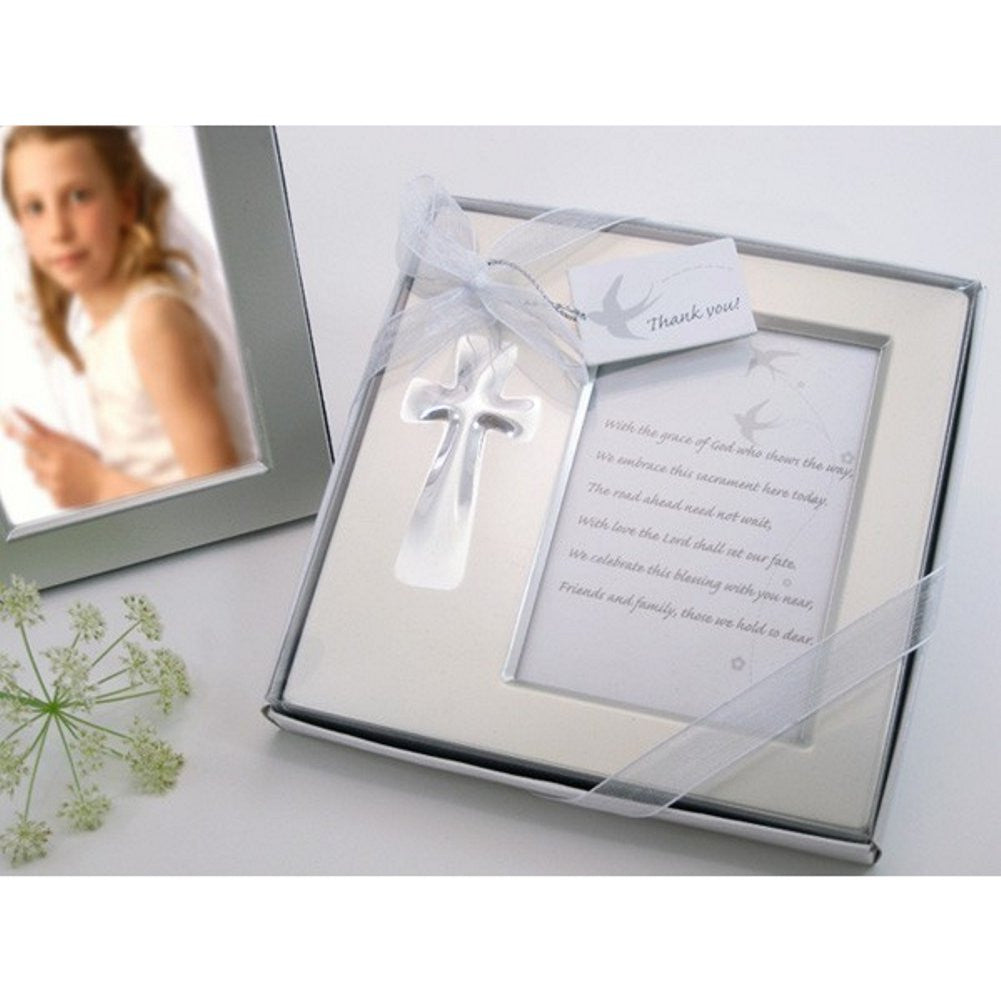 Bless this Day Cross Photo Frame Favor in Gift Box - Sophie's Favors and Gifts