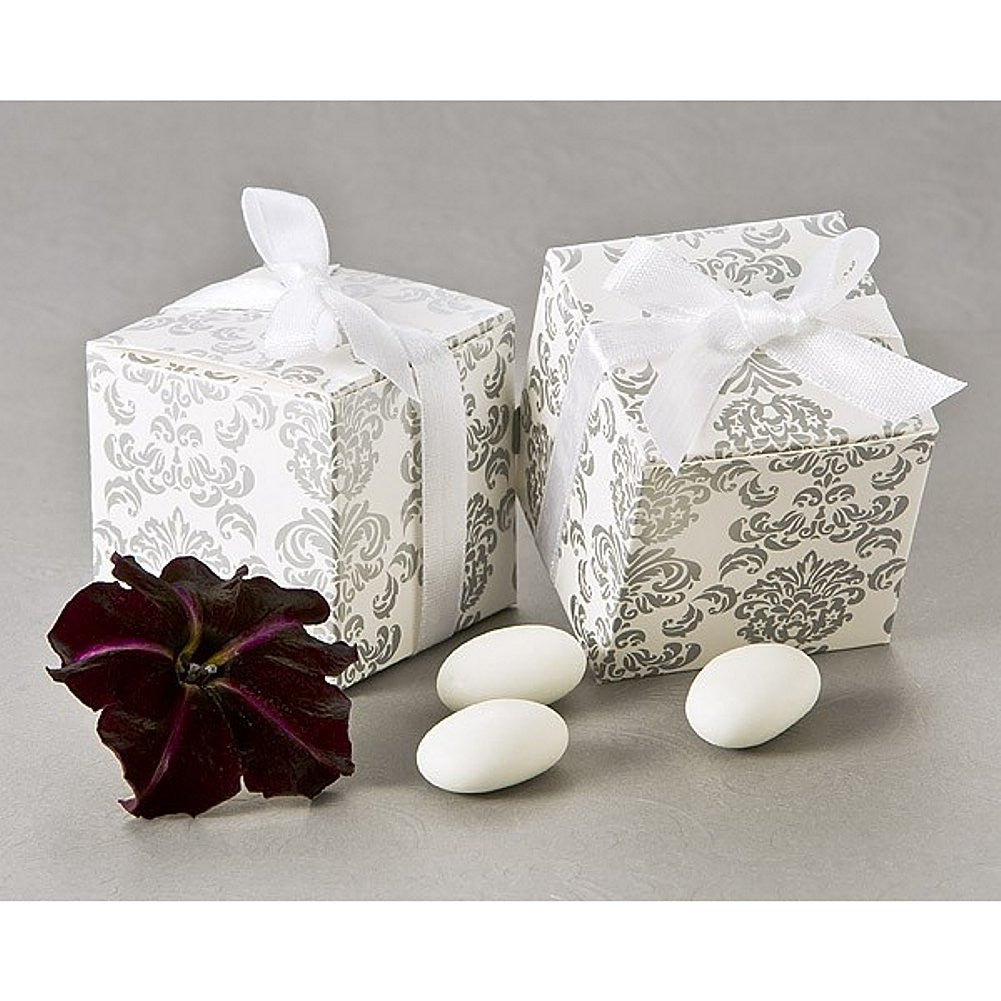 Classic Damask Square Favor Box, classic wedding favor, damask box, damask gift box, damask boxes, Favor Boxes