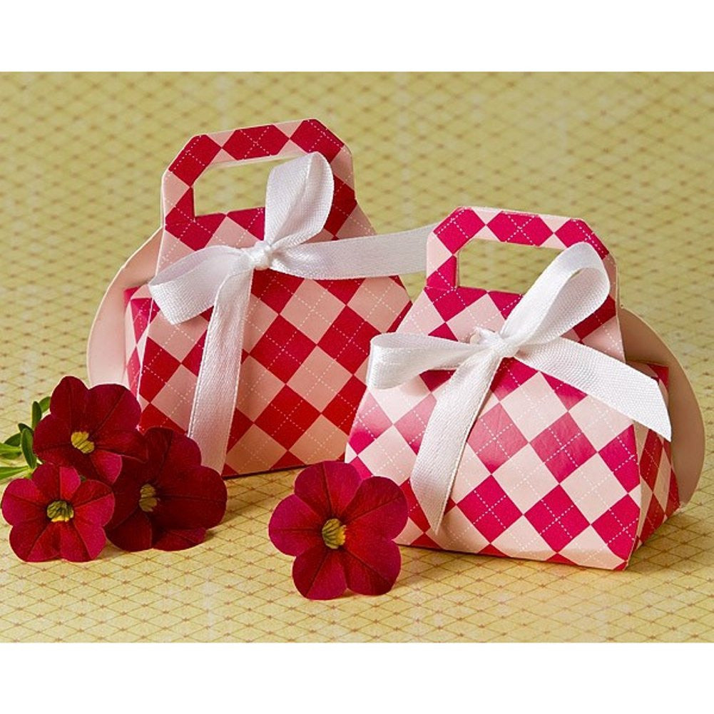 Perfectly Plaid Pink Purse Favor Box - Sophie's Favors and Gifts
