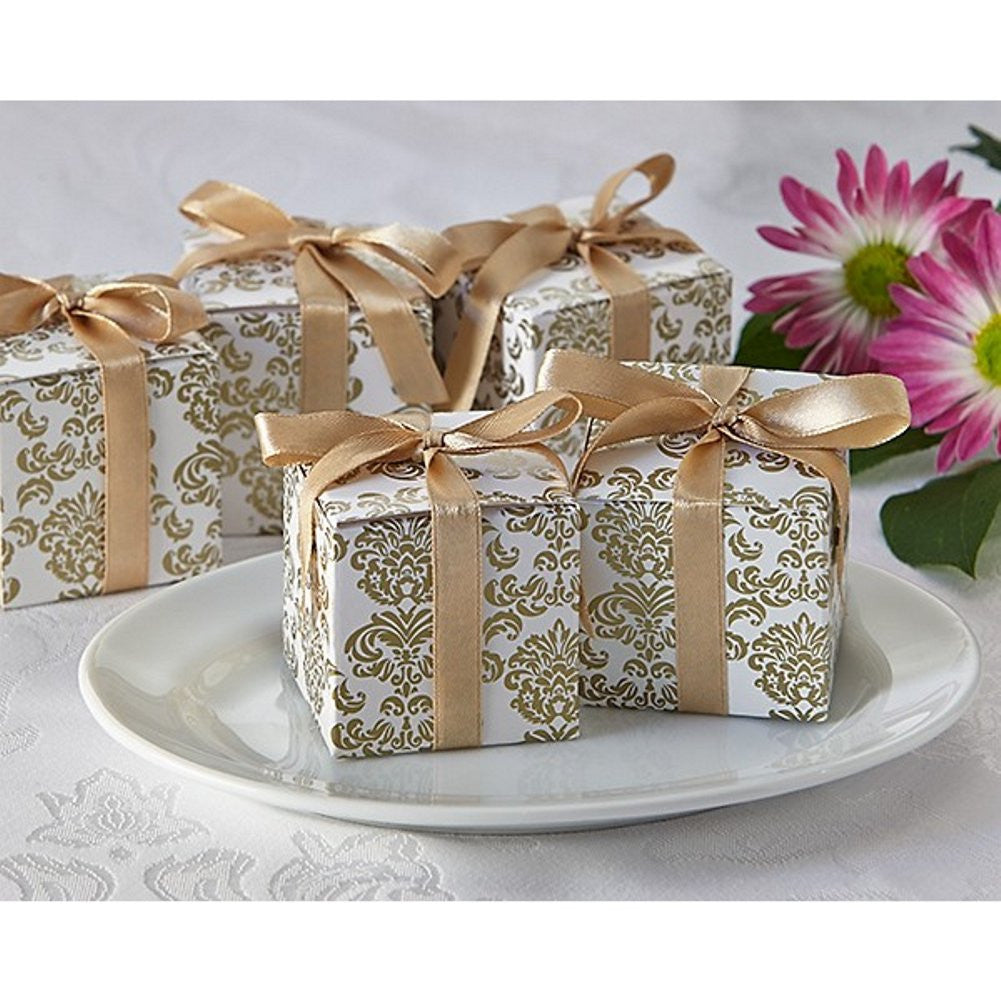 Classic Gold Damask Square Favor Box - Sophie's Favors and Gifts