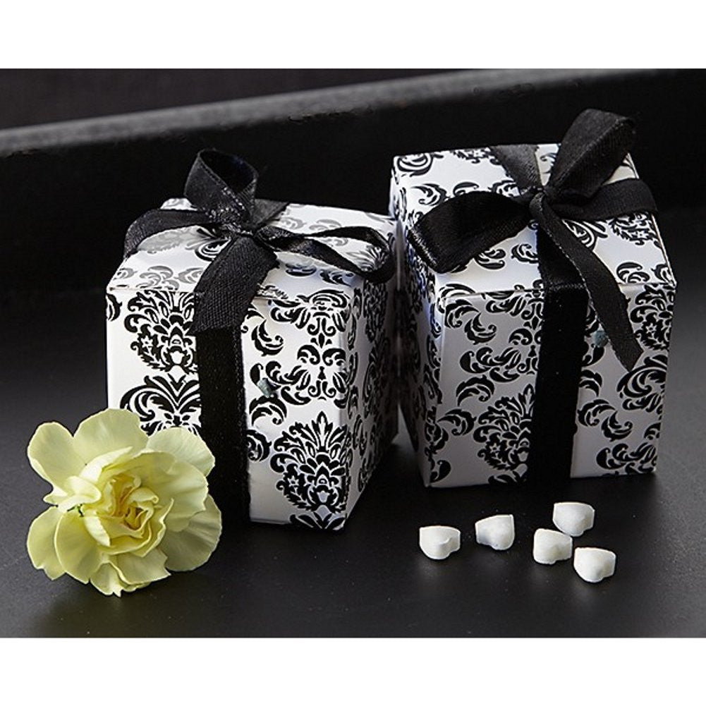 Classic Black and White Damask Square Favor Box, classic wedding favor, damask box, damask gift box, damask boxes, Favor Boxes
