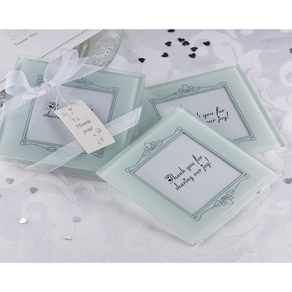 Memories Forever Frosted Glass Photo Coaster Set, photo coaster, photo wedding favor, picture wedding favor, coaster wedding favor, Practical Favors
