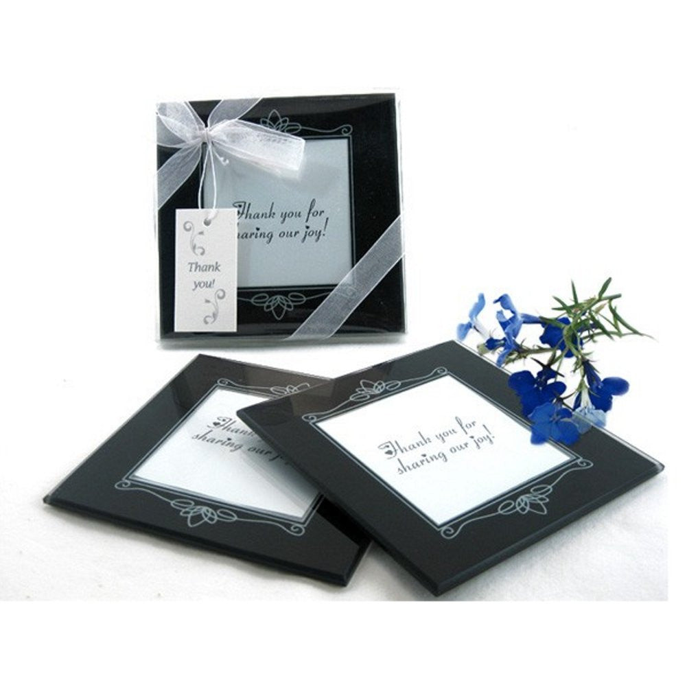 Memories Forever Glass Photo Coaster Set in Black - Sophie's Favors and Gifts