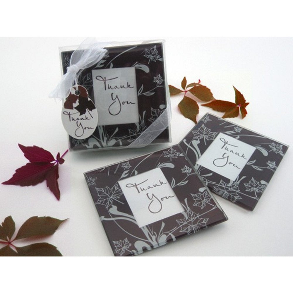 Falling Leaves Leaf Themed Glass Photo Coaster Set, fall wedding favor, photo wedding favor, picture wedding favor, coaster wedding favor, Practical Favors