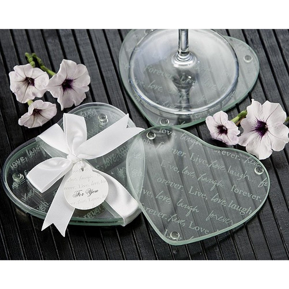 Live, Love, Laugh...Forever Heart Glass Coaster Set - Sophie's Favors and Gifts
