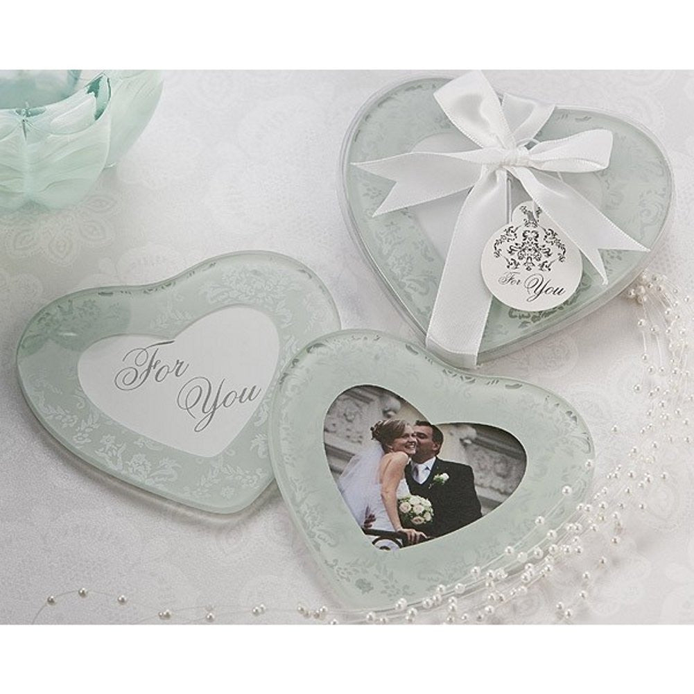 Heartfelt Memories Frosted Heart Photo Coaster Set - Sophie's Favors and Gifts