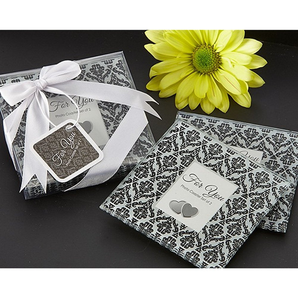 Classic Damask Black and White Photo Coaster Set, damask wedding favor, black white wedding favor, damask party favor, coaster wedding favor, Practical Favors