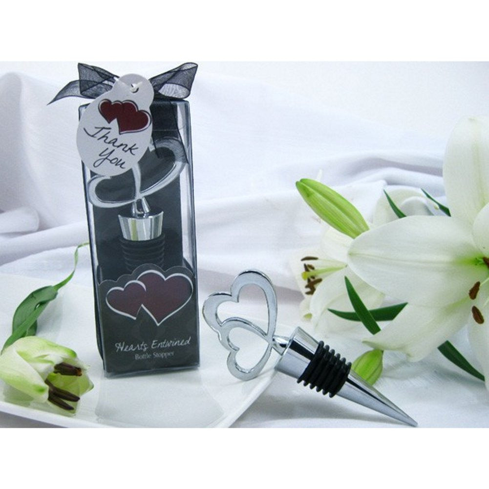 Hearts Entwined Double Heart Bottle Stopper in Designer Gift Box, heart wedding favor, heart party favor, hearts wedding favor, hearts party favor, Practical Favors