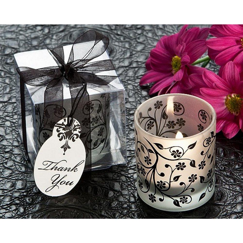Frosted Elegance Black and White Votive Tea Light Candle Holder - Sophie's Favors and Gifts