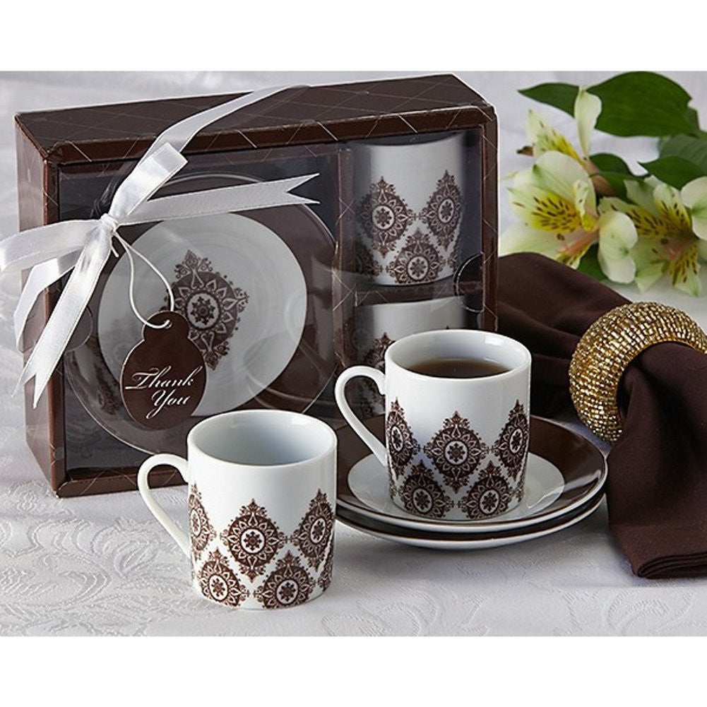 Moroccan Flair Espresso Coffee Cup Set, espresso wedding favor, espresso party favor, coffee party favor, exotic wedding favor, Practical Favors