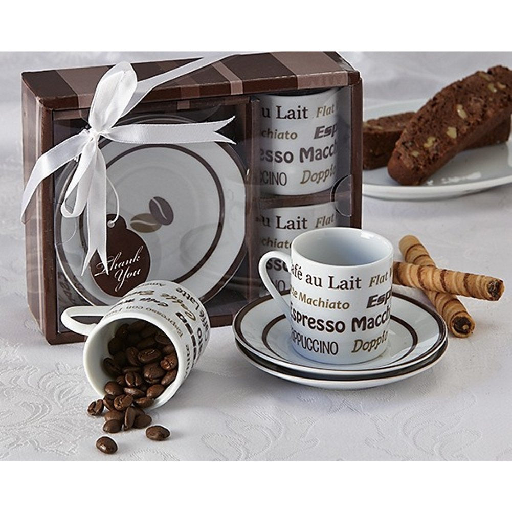 Euro Cafe Espresso Coffee Cup Set, coffee wedding favor, coffee party favor, espresso party favor, espresso wedding favor, Practical Favors
