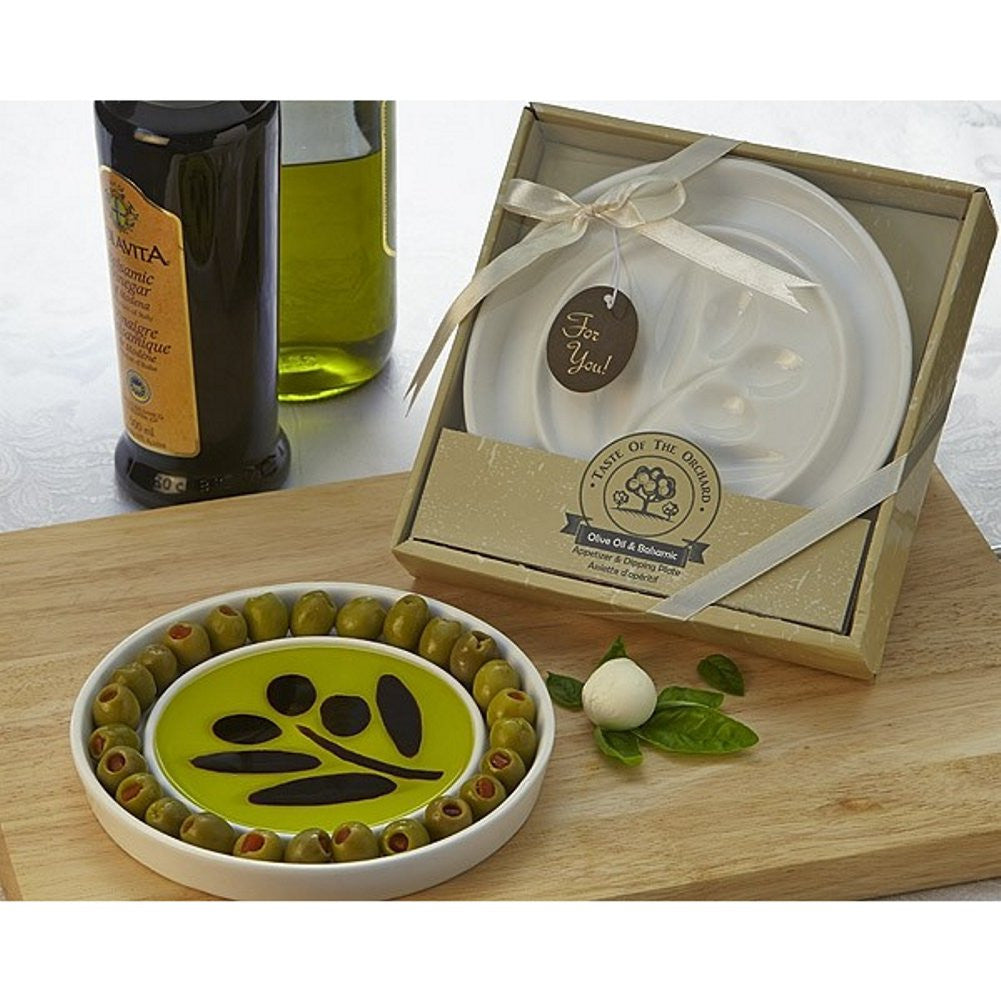 Taste of the Orchard Oil-Vinegar Dipping and Appetizer Plate , olive oil wedding favor, olive oil party favor, oil vinegar favor, rustic wedding favor, Practical Favors
