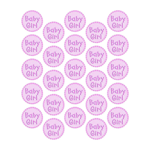 Baby Girl Round Stickers - 25 Stickers Per Pack (1 inch x 1 inch) - Sophie's Favors and Gifts
