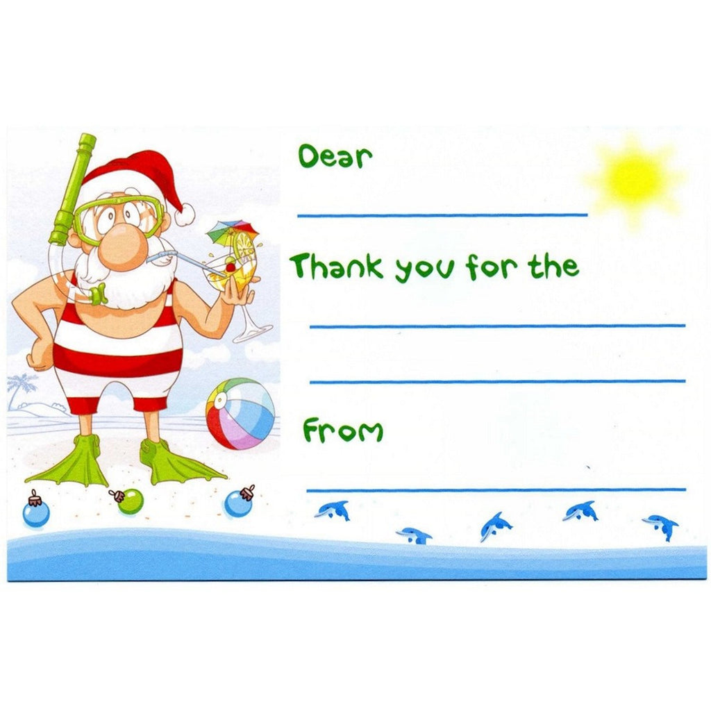 Beach Santa Kid's Christmas Thank You Postcards - Sophie's Favors and Gifts