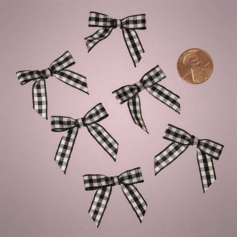 Black and White Pre-Tied Tiny Gingham Checkered Bows - 1 3/16in. x 1 1/4in. - 25 Pack - Sophie's Favors and Gifts