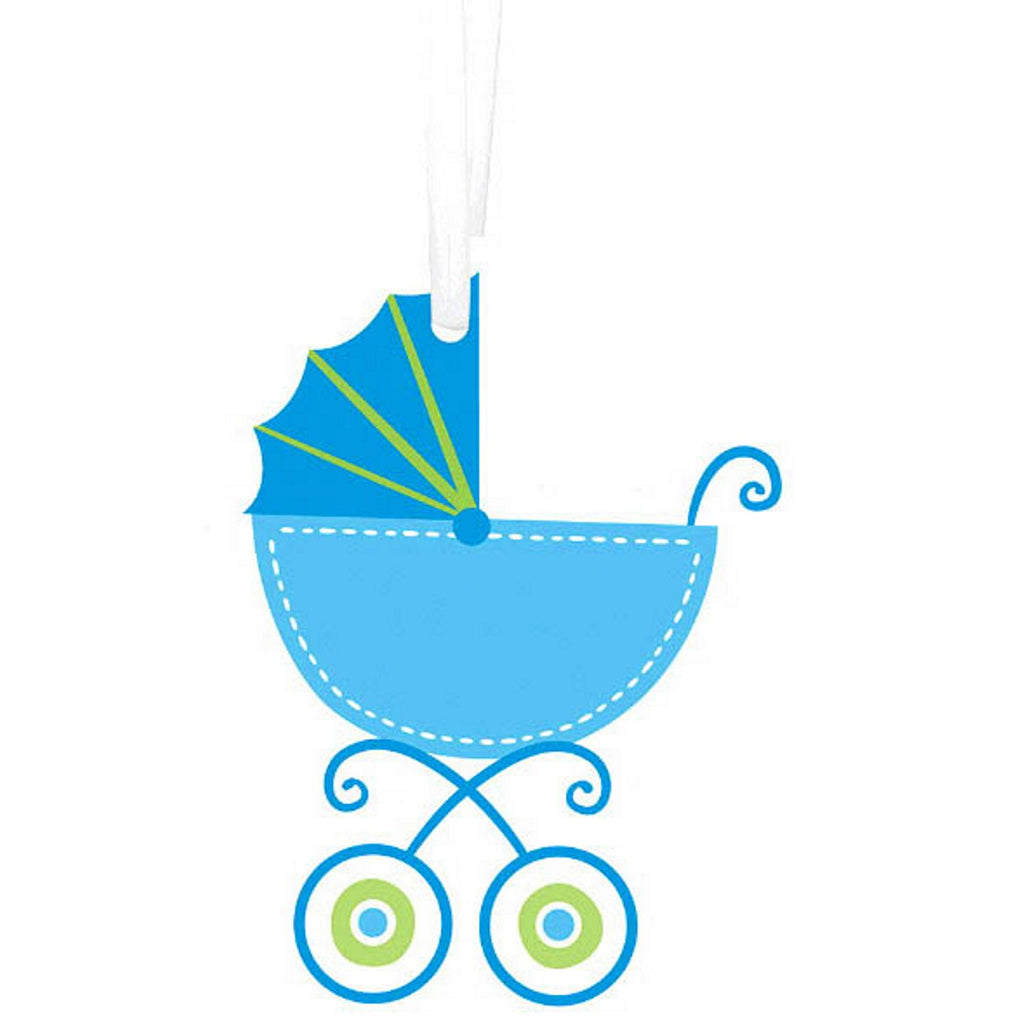Blue Baby Carriage - Baby Shower Gift Tags With Twist Ties - 25 Pack - Sophie's Favors and Gifts