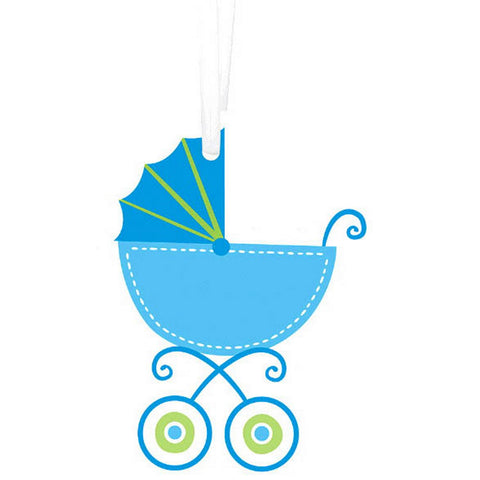Blue Baby Carriage - Baby Shower Gift Tags With Twist Ties - 25 Pack