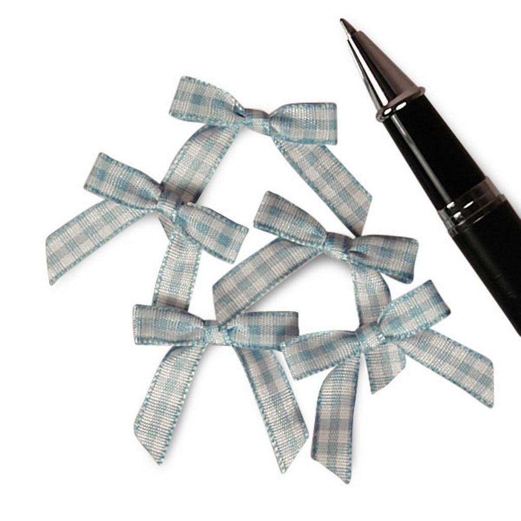 Blue and White Pre-Tied Tiny Gingham Checkered Bows - 1 3/16in. x 1 1/4in. - 25 Pack - Sophie's Favors and Gifts
