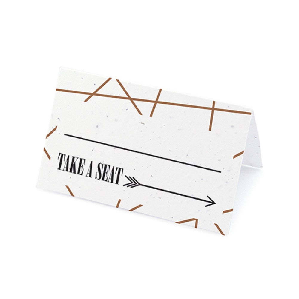 Cupid's Arrow Plantable Place Cards with Wildflower Seed Blend - Brown, cupid place cards, love place cards, cupid placecards, eco friendly place cards, Eco-Friendly Favors