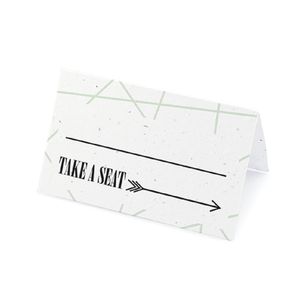 Cupid's Arrow Plantable Place Cards with Wildflower Seed Blend - Mint, cupid place cards, love place cards, cupid placecards, eco friendly place cards, Eco-Friendly Favors