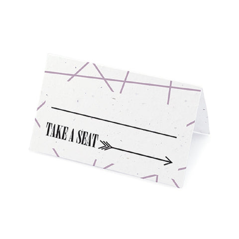 Cupid's Arrow Plantable Place Cards with Wildflower Seed Blend - Purple, cupid place cards, love place cards, cupid placecards, eco friendly place cards, Eco-Friendly Favors
