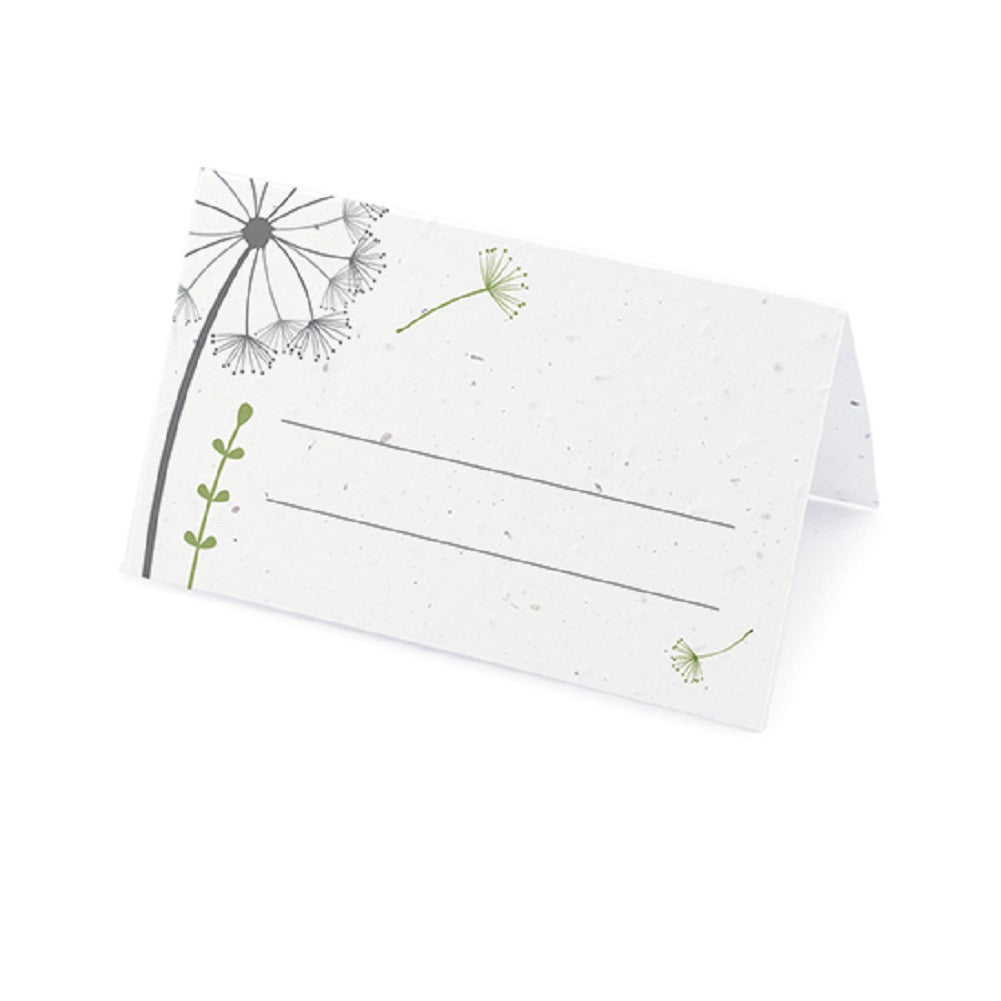 Dandelion Plantable Place Card with Wildflower Seed Blend - Olive Green - Sophie's Favors and Gifts