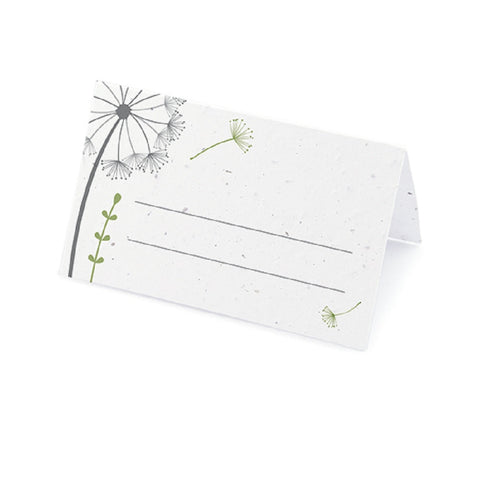 Dandelion Plantable Place Card with Wildflower Seed Blend - Olive Green, spring place cards, spring placecards, spring seating cards, spring seating card, Eco-Friendly Favors