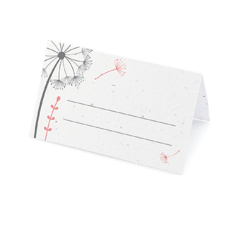 Dandelion Plantable Place Card with Wildflower Seed Blend - Pink - Sophie's Favors and Gifts