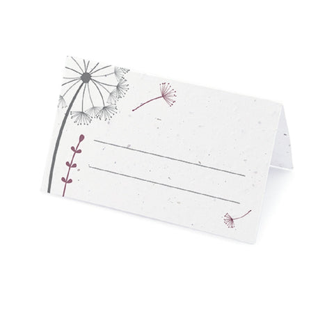 Dandelion Plantable Place Card with Wildflower Seed Blend - Purple - Sophie's Favors and Gifts