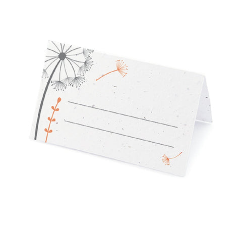 Dandelion Plantable Place Card with Wildflower Seed Blend - Tangerine, spring place cards, spring placecards, spring seating cards, spring seating card, Eco-Friendly Favors