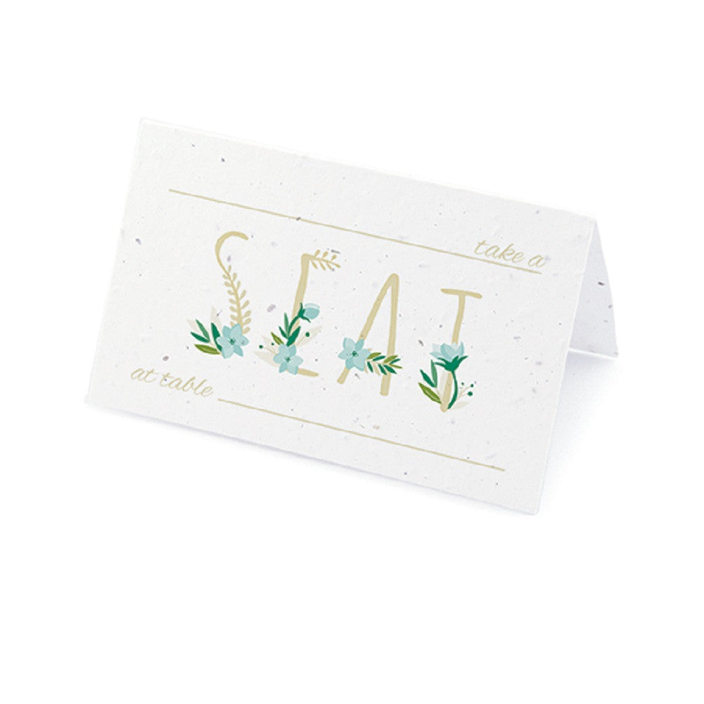 Floral Letters Plantable Place Card with Wildflower Seed Blend - Blue, floral seating cards, flower seating cards, spring place cards, blue place cards, Eco-Friendly Favors