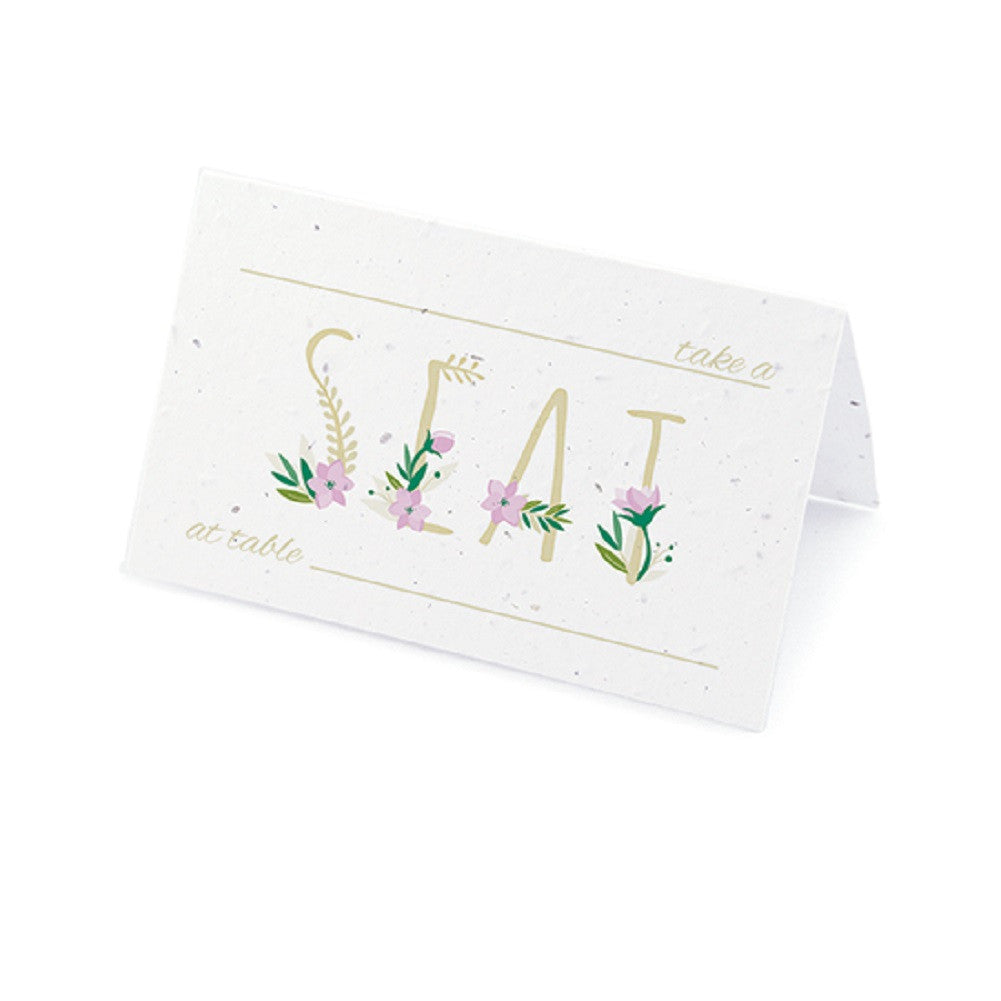 Floral Letters Plantable Place Card with Wildflower Seed Blend - Purple - Sophie's Favors and Gifts