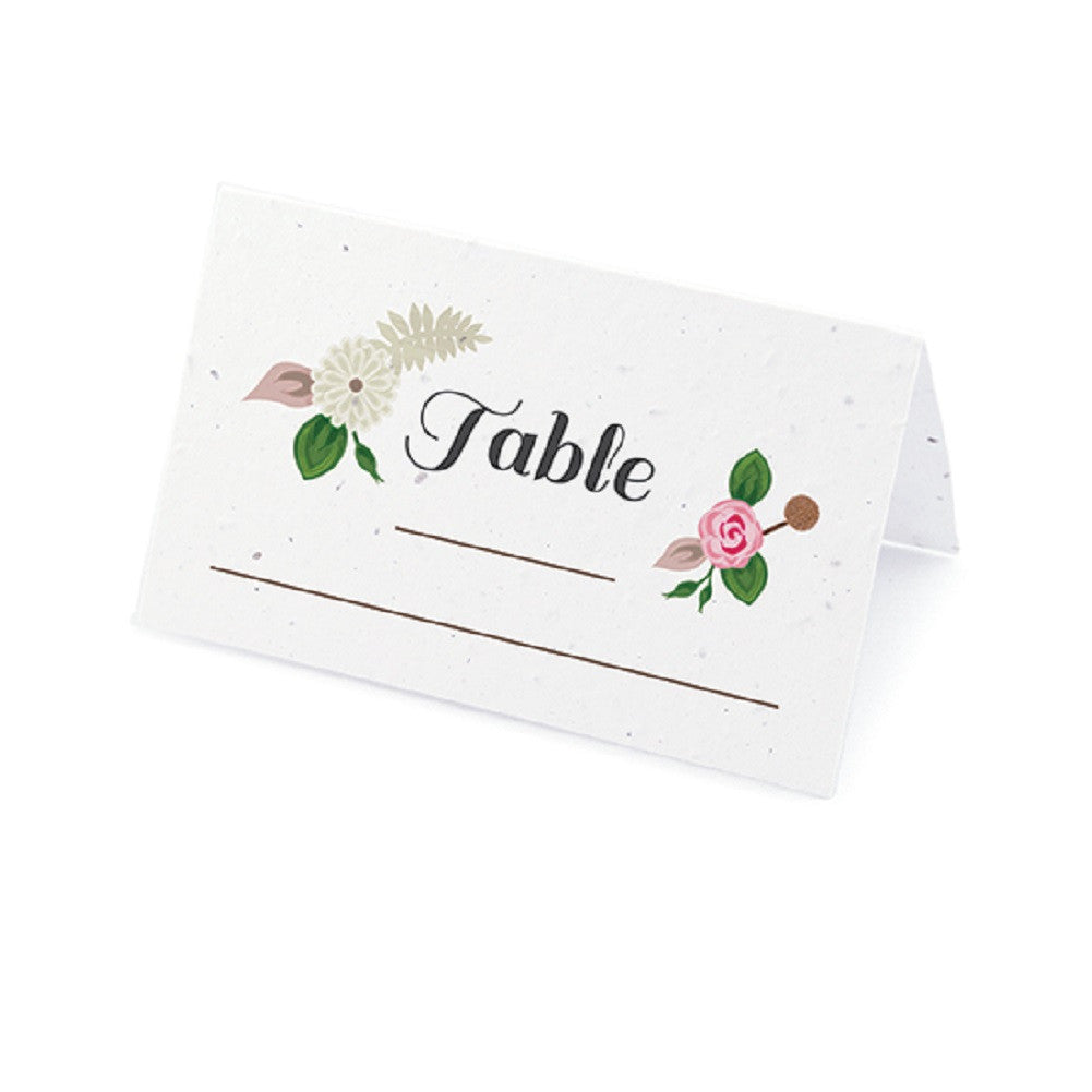 Floral Woodland Plantable Place Cards with Wildflower Seed Blend - Pink, flower place cards, woodland place cards, pink place cards, eco friendly place cards, Eco-Friendly Favors