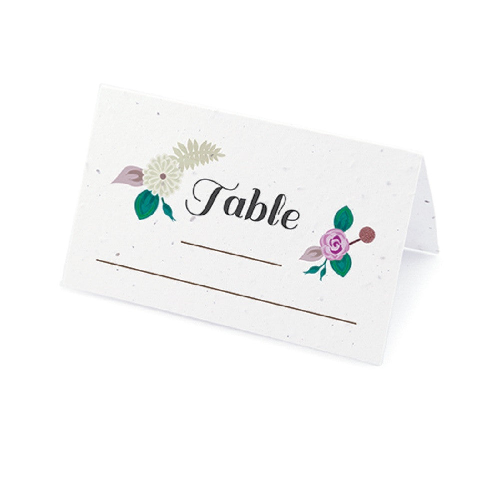 Floral Woodland Plantable Place Cards with Wildflower Seed Blend - Purple, flower place cards, woodland place cards, purple place cards, eco friendly place cards, Eco-Friendly Favors